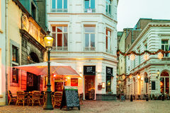 Bars and restaurants located around the famous `Onze Lieve Vrouw Royalty Free Stock Image