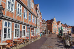 Bars and restaurants at the old harbor of Hanseatic city Stade Royalty Free Stock Photo