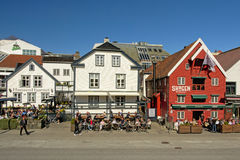 Bars and restaurants on a sunny day in downtown Stavanger Stock Image
