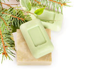 Bars of soap and leaves Stock Image