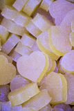 Bars of soap in the shape of colorful heart royalty free stock photo