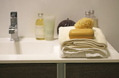 Bars of soap on stock of towels ,sponge and bathro stock photo