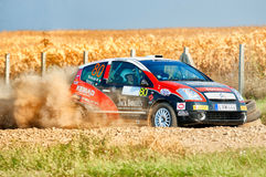 Barsa Rally 2011. BUCHAREST, ROMANIA - SEPTEMBER 02: Unknown car driver piloting his car at Barsa Rally 2011 stage Baneasa Rally Show on September 02, 2011 Stock Images