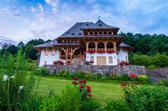 Barsana klosterkomplex, Maramures Royaltyfria Foton