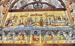 Barsana monastery complex in Maramures. Traditional fresco on the wall of Barsana monastery from Maramures - Romania Royalty Free Stock Photography
