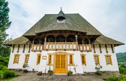 Barsana monastery complex in Maramures stock photos