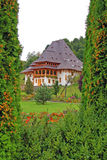 Barsana monastery in forest stock image