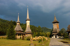 Barsana Monastery. Barsana is one of the wooden churches in Maramures, a beautiful synthesis of Eastern and Western European architecture, with Gothic and Royalty Free Stock Image