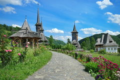Orthodox wooden church. Barsana Monastery Complex - Landmark attraction in Maramures, Romania. UNESCO World Heritage Royalty Free Stock Images
