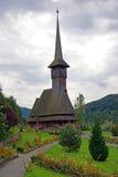 Barsana monastery: wooden church stock image