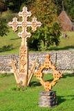 Barsana monastery: wooden cross royalty free stock image