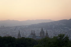 Barselona in the dusk. The Palace Nationale. Stock Images