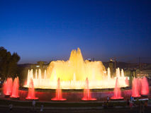 Barselona's Fountain. Night fountain of Barcelona which works only in the summer in the evening royalty free stock images