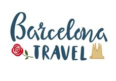 Barselona travel lettering with Cathedral and rose template, banner, sticker on isolated background. Vector illustration. Barselona travel lettering text with vector illustration