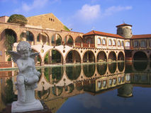 Barselona view. Barselona architecture view with cupid statue and reflection in the pool Stock Photography