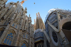 barselonafamilia sagrada spain Arkivbild