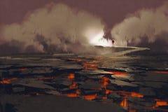 Barsten in de grond met magma royalty-vrije illustratie