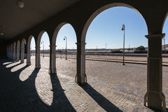 Barstow, California, USA - March 21, 2014: In the shade of the museum house arches Stock Photo