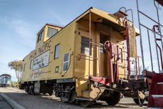 Barstow, California, USA - Santa Fe yellow Train at Western America Railroad Museum near Harvey House Railroad Depotis dedicated. Barstow, California, USA stock image