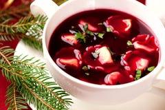 Barszcz. Polnische Weihnachtssuppe lizenzfreies stockbild