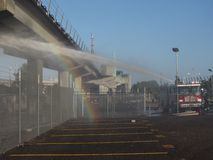 BART Fire. Shuts down the morning commute in the Bay Area Royalty Free Stock Photo