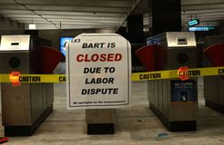 2013 BART Labor Dispute. Civic Center BART station closed due to labor dispute Royalty Free Stock Images