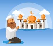 Bart-Mann-Moslems Sit And Pray In Front der Moschee lizenzfreie abbildung