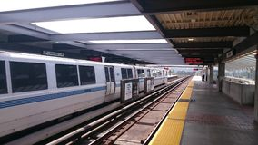 bart train in daly city station stock image