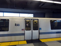 BART Train Parked at SFO Station Stock Image