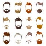 Bart und Frisur-Gesichts-Satz stock abbildung