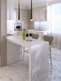 Barteller met barstoelen in luxueuze keuken vector illustratie