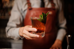Bartender διακοσμεί τα φύλλα μεντών κοκτέιλ κανένα πρόσωπο Στοκ φωτογραφία με δικαίωμα ελεύθερης χρήσης