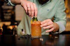Bartender διακοσμεί ένα κοκτέιλ summerr κανένα πρόσωπο Στοκ Φωτογραφία