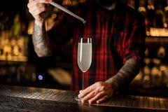 Bartender που προσθέτει ένα μούρο σε ένα ποτήρι ενός κοκτέιλ γαλλικά 75 stan στοκ φωτογραφίες με δικαίωμα ελεύθερης χρήσης