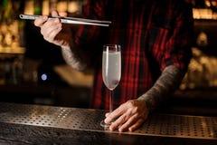 Bartender που προσθέτει το μούρο σε ένα εύγευστο κοκτέιλ γαλλικά 75 στοκ εικόνα με δικαίωμα ελεύθερης χρήσης