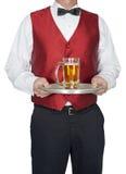 Bartender, σερβιτόρος, κεντρικός υπολογιστής, μπύρα, που απομονώνεται Στοκ Εικόνα