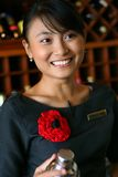 Bartender. Beautiful asian bartender at work stock images