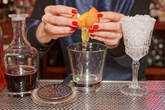 Bartender is adding egg to the glass Stock Photography