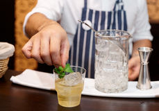 Bartender is adding mint to the cocktail Royalty Free Stock Images