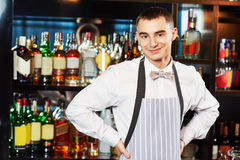 Bartender at bar Stock Image