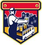 Bartender Beer City Van Crest Retro Stock Photography