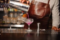 Bartender pours from a steel shaker into a cocktail glass a lilac-colored alcohol cocktail. Bartender in a brown apron pours from a steel shaker into a cocktail stock photo