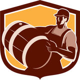 Bartender Carrying Beer Barrel Shield Retro Royalty Free Stock Image