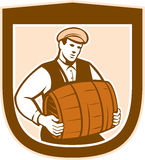 Bartender Carrying Keg Shield Retro Royalty Free Stock Photography