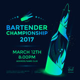 Bartender championship poster. Template design with flair bottle. Vector illustration vector illustration