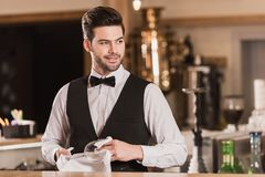 Bartender cleaning wineglass Royalty Free Stock Photography