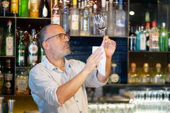 The bartender wipes out the wine glass at work. The bartender cleans the glass. A handsome bartender polishes a glass of wine glasses. The concept of service Royalty Free Stock Photos