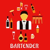 Bartender with cocktails. Profession flat concept. Bartender profession flat concept with bar counter, alcohol bottles, shaker, corkscrew, cocktails, beer Royalty Free Stock Photos