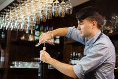 Bartender concentrated on uncork of elite drink at bar counter. Male sommelier open wine bottle with corkscrew. Waiter with bottle of alcohol beverage and Royalty Free Stock Images