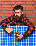 Bartender concept. Man in checkered shirt on brick wall background. Barman with long beard and mustache and stylish hair. On calm face, made alcoholic cocktail Stock Photo